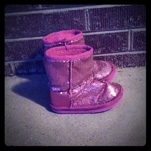 Toddler girl size 7 hot pink glitter boot